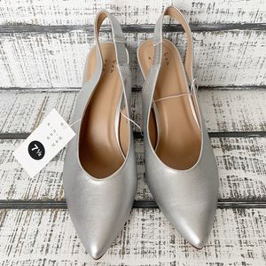 a new day Shoes - A New Day silver slingback pointed heels sz 7.5